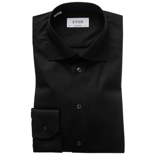 Black Signature Twill Contemporary Fit Shirt