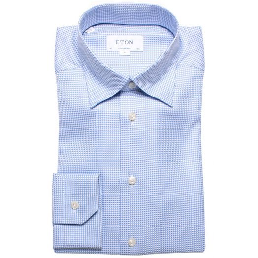 Blue Geometric Weave Contemporary Fit Shirt