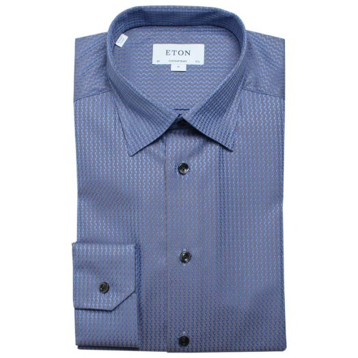 Blue Jacquard Textured Weave Contemporary Fit Shirt