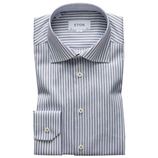 Steal Blue Broken Stripe Contemporary Fit Shirt