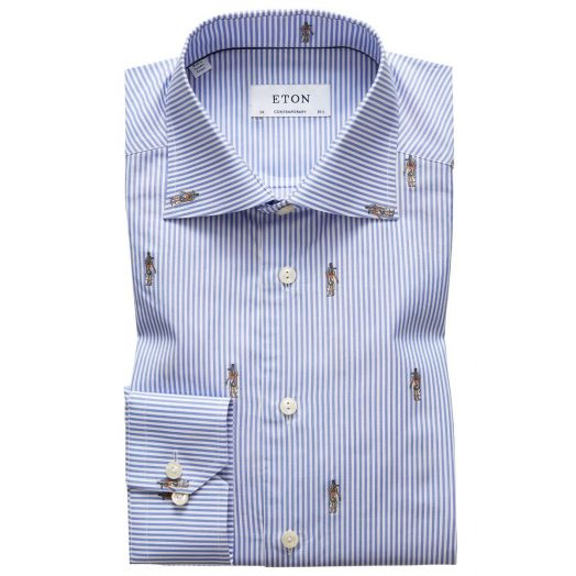 Blue Stripe Signature Twill Contemporary Fit Shirt