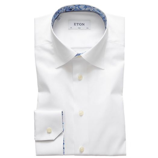 White Signature Twill Dandy Lion Trim Shirt