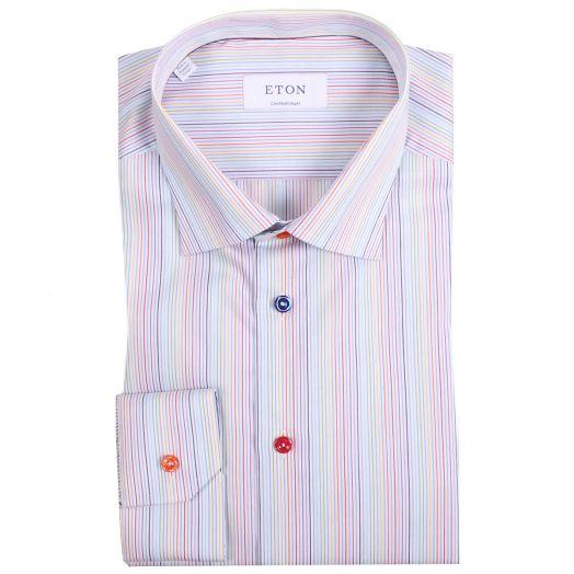 Multi Stripe Fine Cotton Twill Shirt
