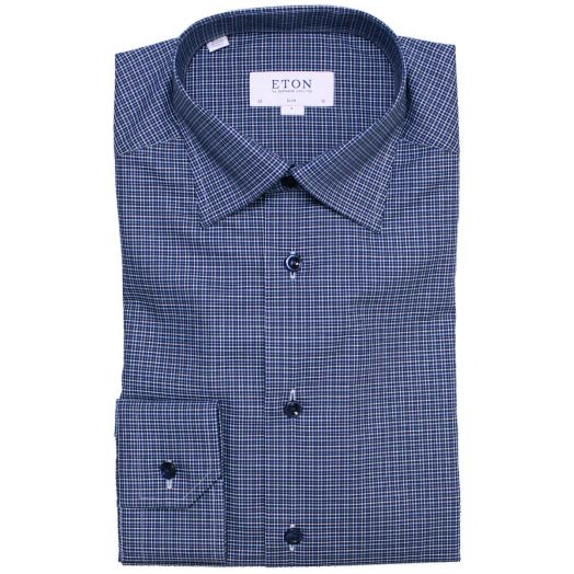 Blue Fine Check Slim Fit Shirt
