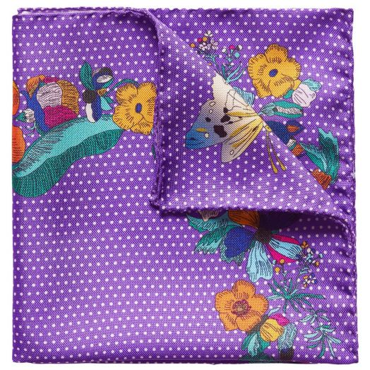Purple Floral Print  Silk Pocket Square