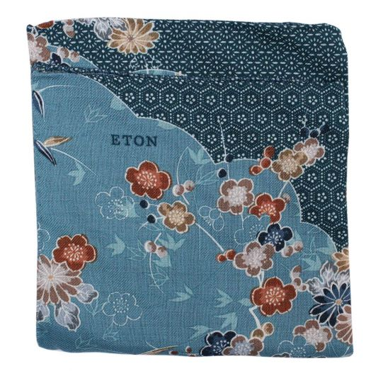 Green Floral Motif Virgin Wool Pocket Square