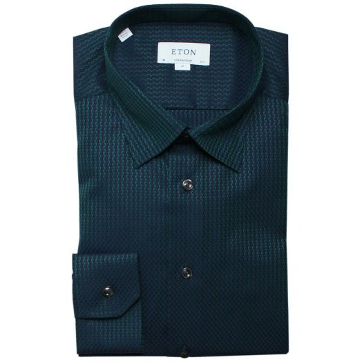 Green Jacquard Textured Weave Contemporary Fit Shirt