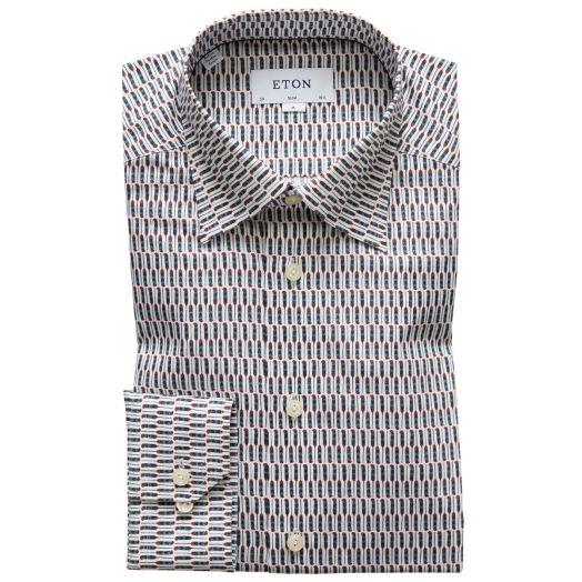 White Micro Feather Print Signature Twill Shirt