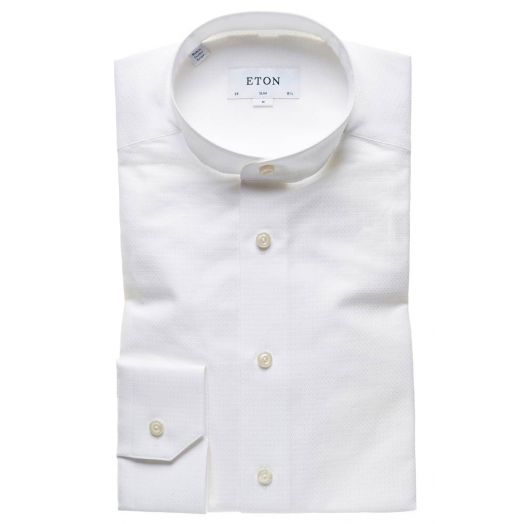White Signature Twill Grandad Collar Slim Fit Shirt