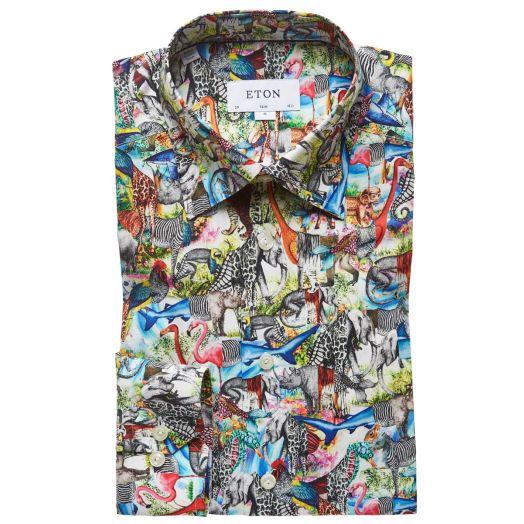 Multi Colour Animal Print Slim Fit Shirt