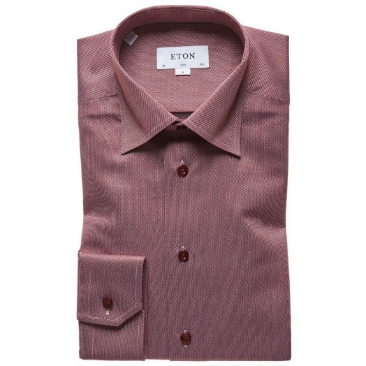 Red Textured Weave Slim Fit Shirt