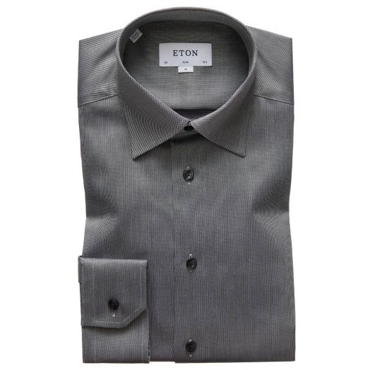 Grey Textured Weave Slim Fit Shirt