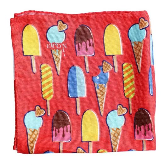Red 100% Silk Ice Cream Print Pocket Square