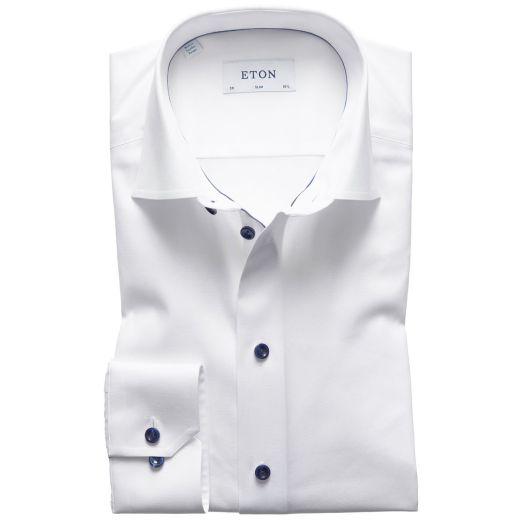 White Twill Blue Button Slim Fit Shirt