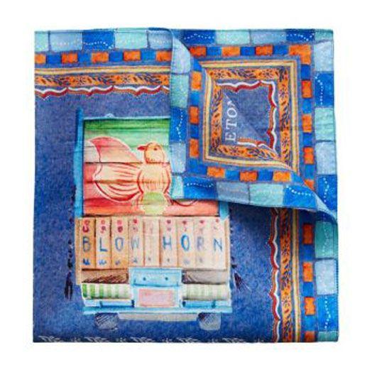 Blue Trucks Print Pure Cotton Pocket Square