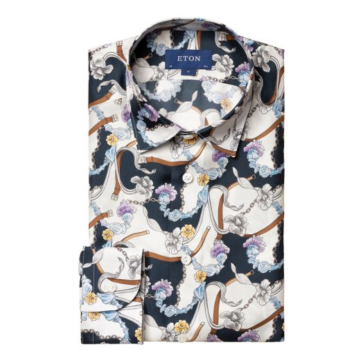 Blue Chandelier Print Slim Fit Silk Shirt