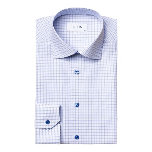 Blue Check Fine Twill Contemporary Fit Shirt