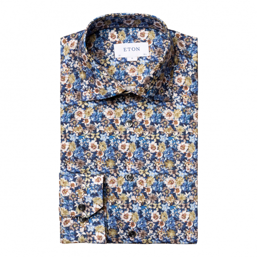 Blue Flower Print Contemporary Fit Twill Shirt