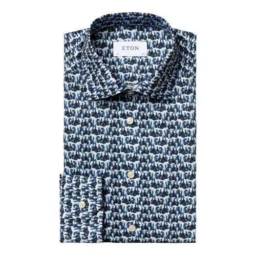 Blue Glass Print Fine Twill Slim Fit Shirt