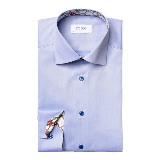 Blue Lightweight Twill Detail Contemporary Fit Shirt