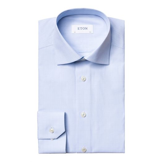 Blue Micro-Check Fine Twill Contemporary Fit Shirt