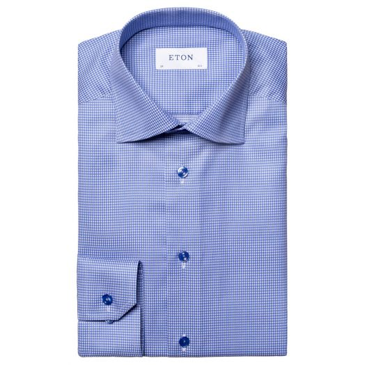 Blue Micro-Checked Twill Contemporary Fit Shirt