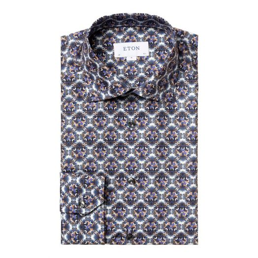 Blue & Purple Medallion Print Contemporary Fit Shirt