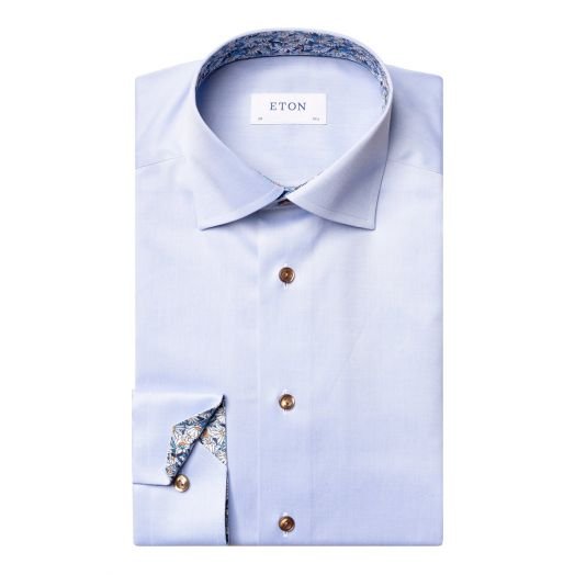 Blue Signature Twill Floral Detail Slim Fit Shirt