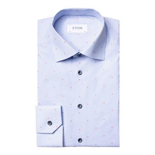 Blue Striped Detail Signature Twill Slim Fit Shirt