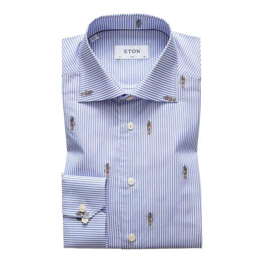 Blue Striped Egyptian Print Signature Slim Fit Shirt