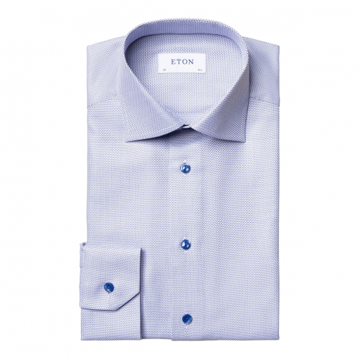 Blue Zig-Zag Contemporary Fit King Twill Shirt