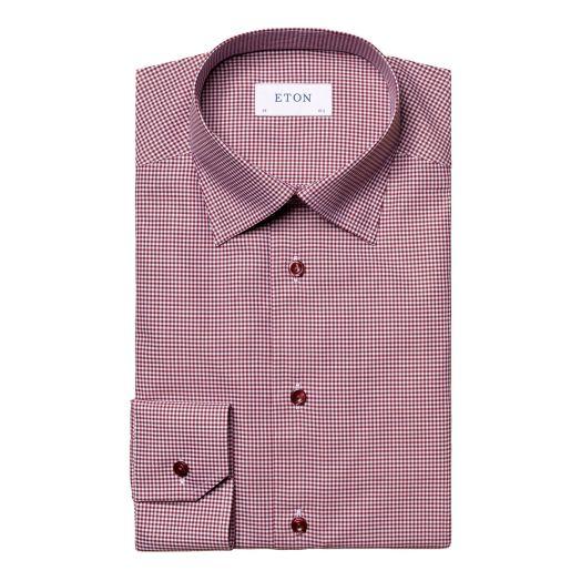 Burgundy Micro-Checked Fine Twill Slim Fit Shirt