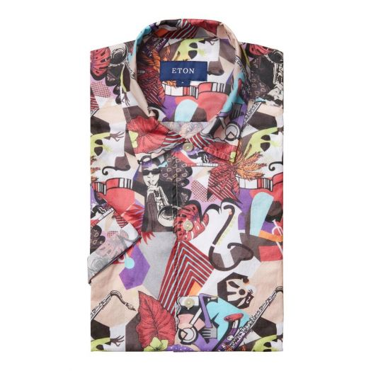 Jazz Print Relaxed Fit Poplin Short Sleeve Shirt
