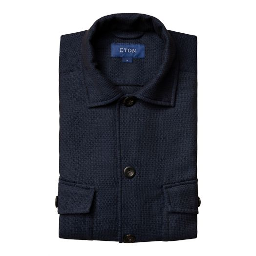 Navy-Blue Dobby Heavy Cotton Overshirt