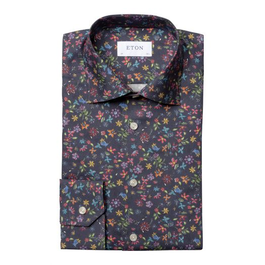 Navy Valley of Flowers Signature Twill Slim Fit Shirt