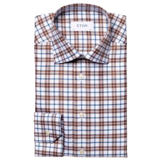 Off-White & Brown Checked King Twill Contemporary Fit Shirt