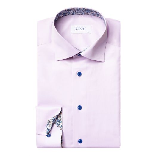 Purple Signature Twill Floral Detail Slim Fit Shirt