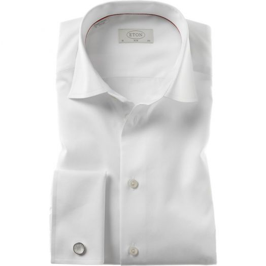 White Slim Fit Double Cuff Shirt