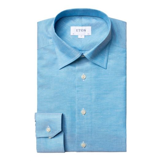 Turquoise Button-Under Cotton Linen Contemporary Fit Shirt