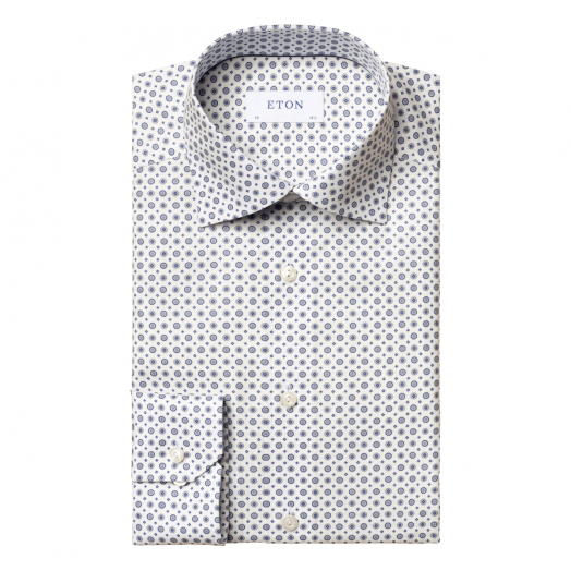 White & Blue Floral Medallion Slim Fit Shirt