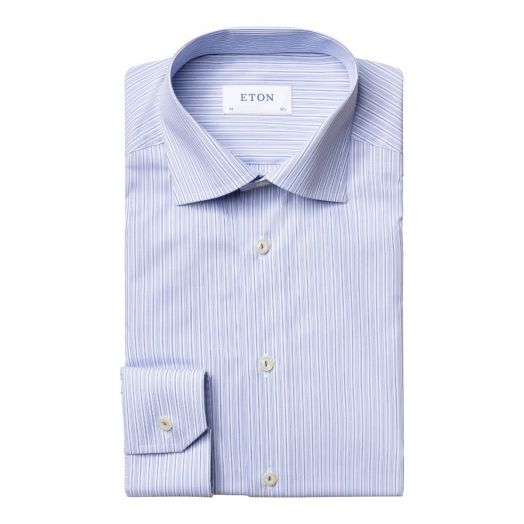 White & Blue Stripe Contemporary Fit Poplin Shirt