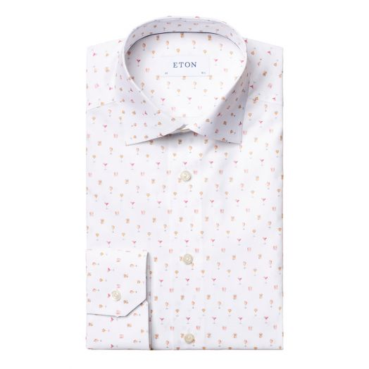 White Cocktail Print Poplin Slim Fit Shirt