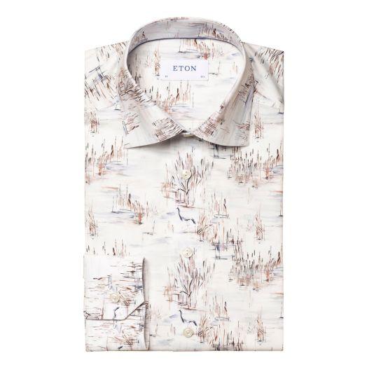 White Crane Print Signature Twill Contemporary Fit Shirt
