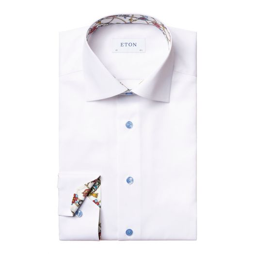 White Lightweight Twill Detail Contemporary Fit Shirt