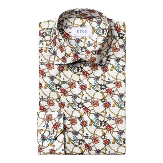 White & Red Floral Rope Twill Contemporary Fit Shirt