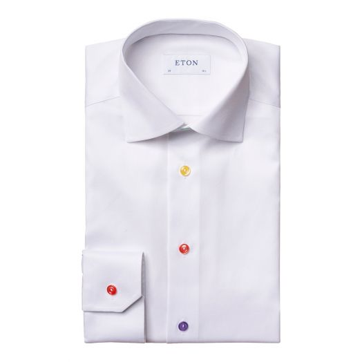 White Signature Twill Coloured Buttons Slim Fit Shirt