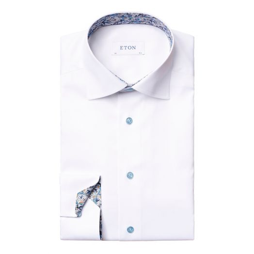 White Signature Twill Floral Detail Slim Fit Shirt