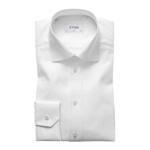 White Textured Twill Slim Fit Shirt
