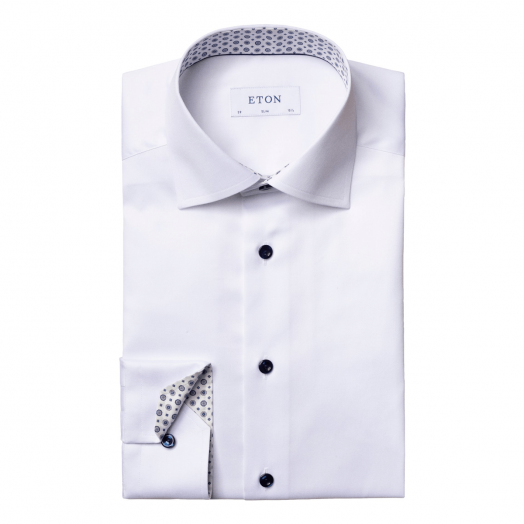 White With Blue Medallion Print Slim Fit Shirt