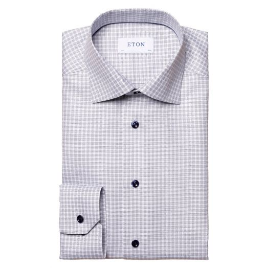 White & Navy Textured Twill Contemporary Fit Shirt